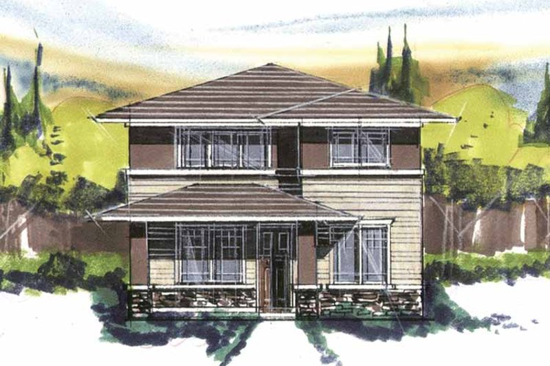 Prairie Exterior - Front Elevation Plan #509-414