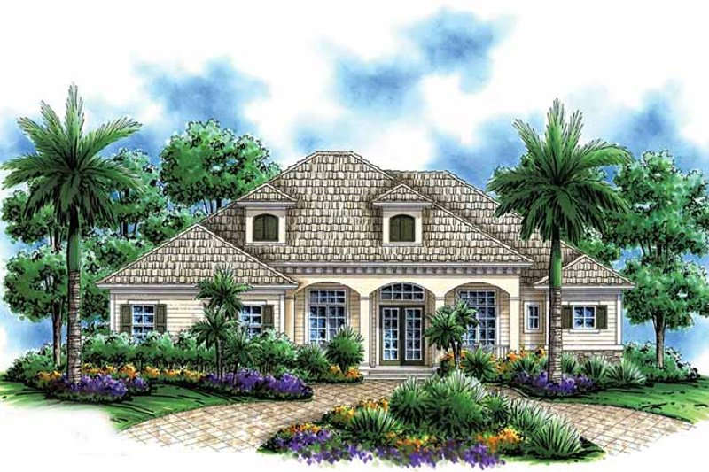 Mediterranean Exterior - Front Elevation Plan #1017-49