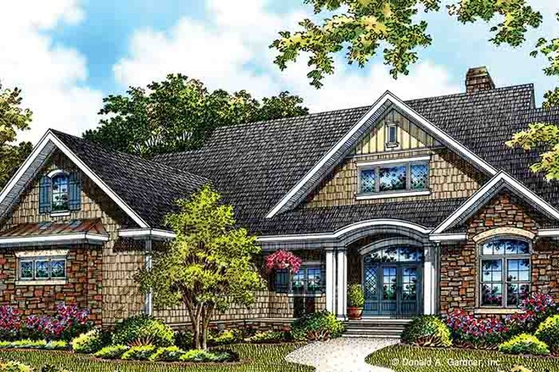 European Style House Plan - 3 Beds 2 Baths 1818 Sq/Ft Plan #929-967 Exterior - Front Elevation