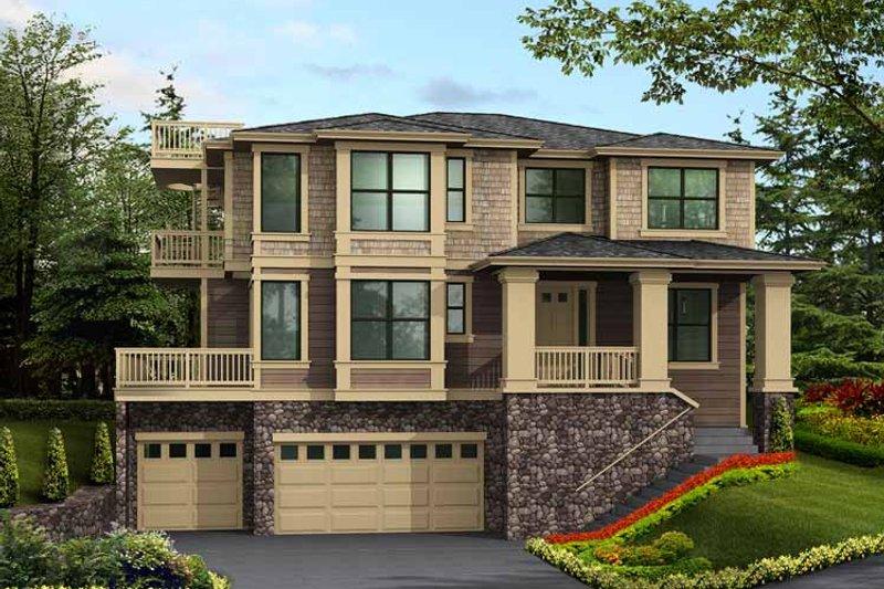 Prairie Exterior - Front Elevation Plan #132-471 - Houseplans.com