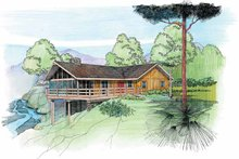Cabin Exterior - Front Elevation Plan #959-4