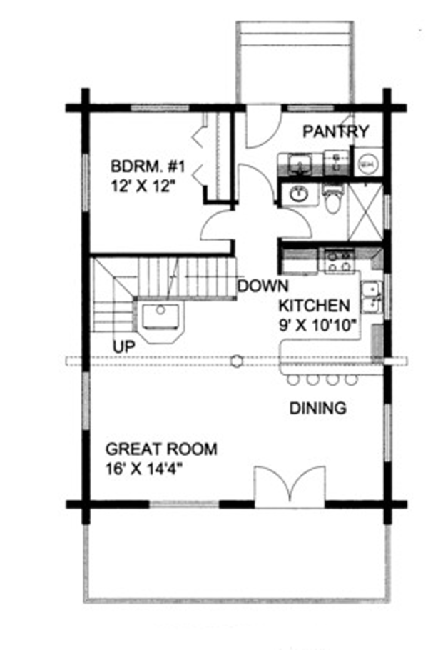 Log Floor Plan - Main Floor Plan Plan #117-821