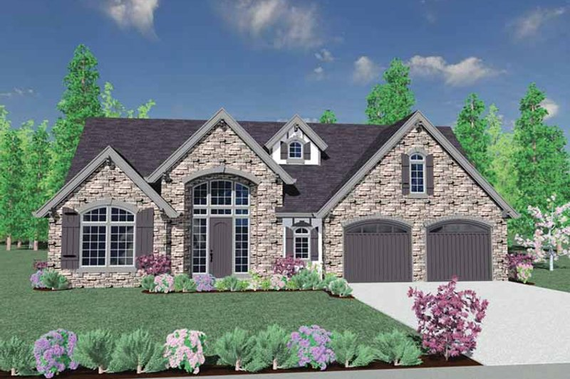 Country Exterior - Front Elevation Plan #509-372