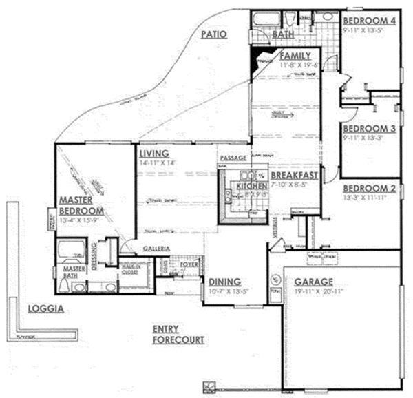 Architectural House Design - Contemporary Floor Plan - Main Floor Plan #30-335