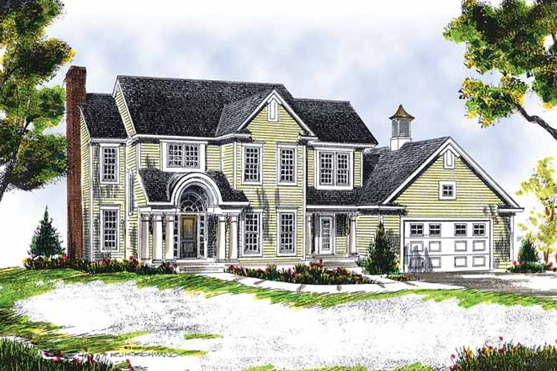 Colonial Exterior - Front Elevation Plan #70-1344