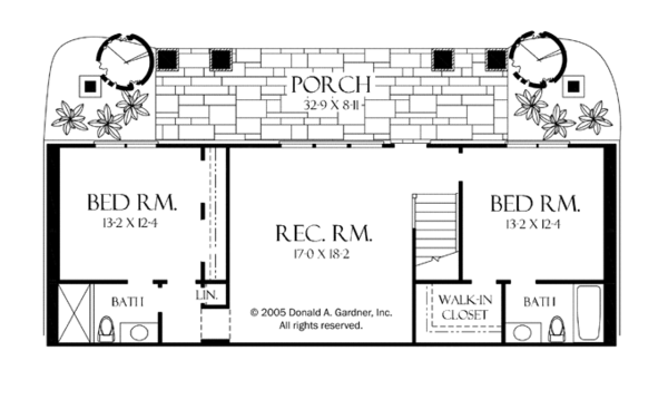 Craftsman Floor Plan - Lower Floor Plan Plan #929-937