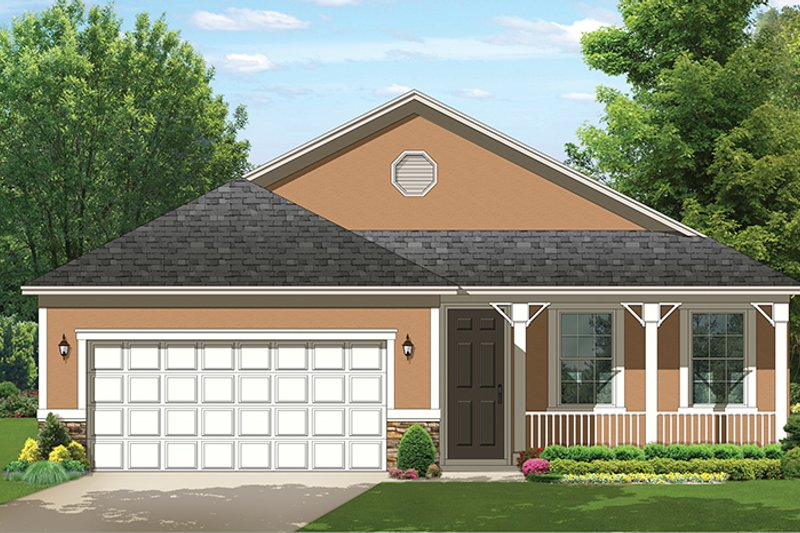 Ranch Exterior - Front Elevation Plan #1058-107 - Houseplans.com