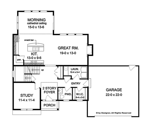 House Plan Design - Traditional Floor Plan - Main Floor Plan #1010-119