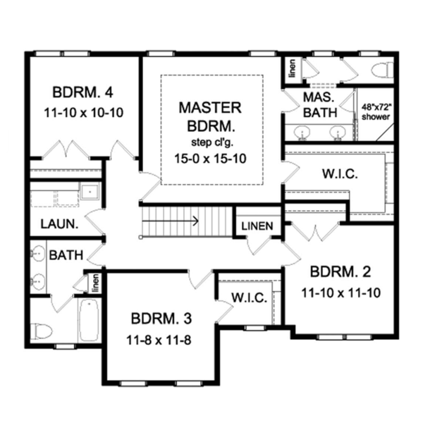 Colonial Floor Plan - Upper Floor Plan Plan #1010-61