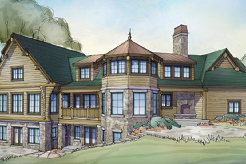 Log Exterior - Rear Elevation Plan #928-258 - Houseplans.com