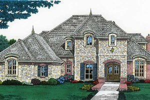 Country Exterior - Front Elevation Plan #310-1198