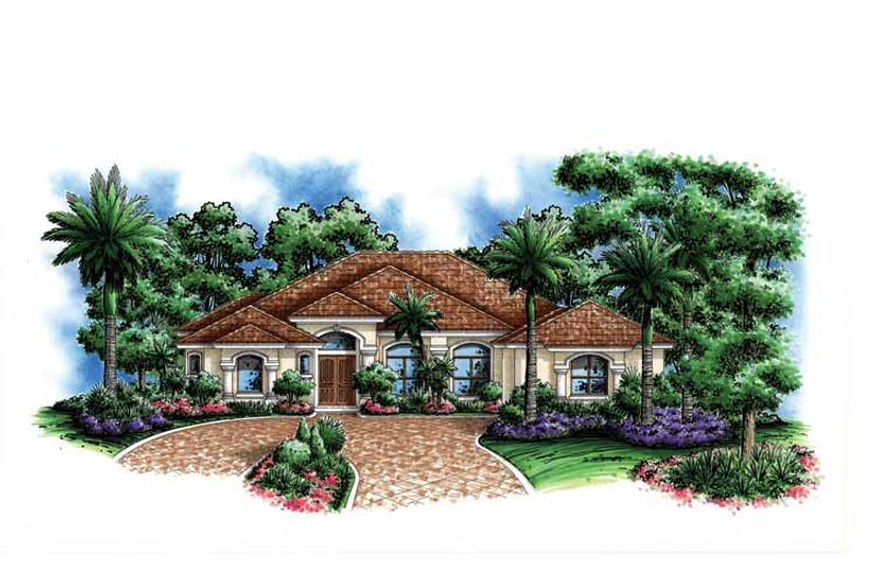 Mediterranean Exterior - Front Elevation Plan #1017-122 - Houseplans.com