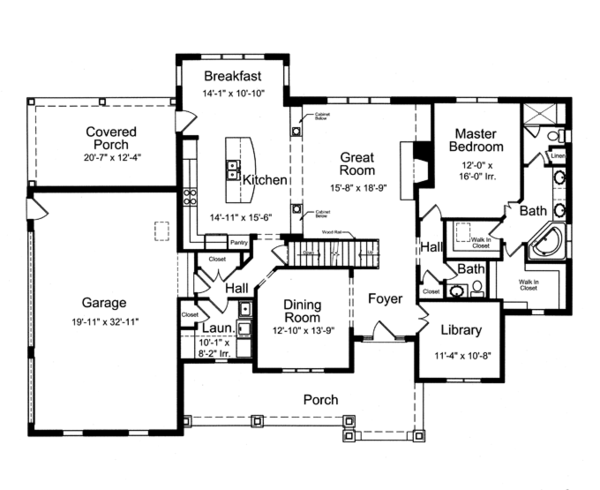 Country Floor Plan - Main Floor Plan Plan #46-834