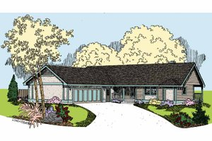House Design - Country Exterior - Front Elevation Plan #60-1008