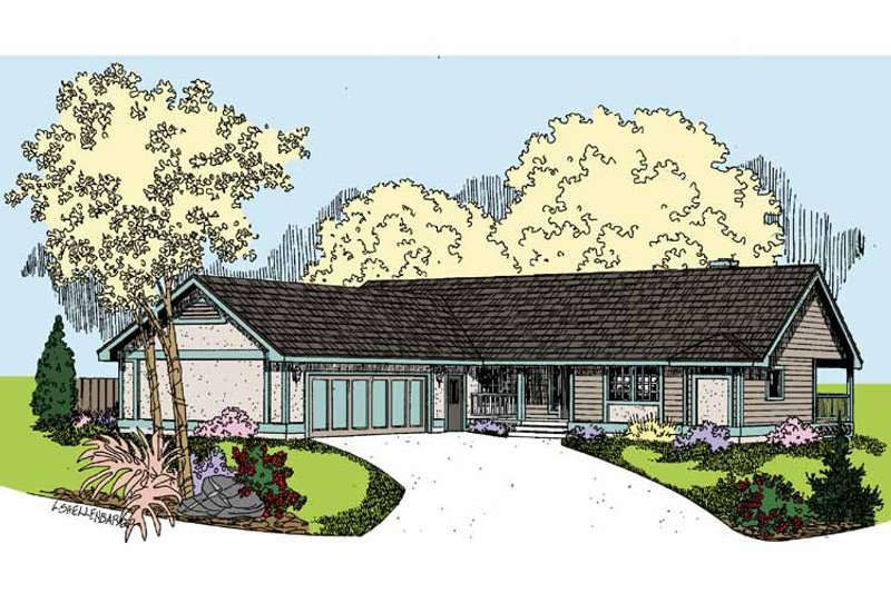 Architectural House Design - Country Exterior - Front Elevation Plan #60-1008