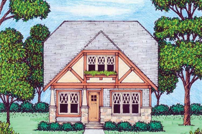 Tudor Exterior - Front Elevation Plan #413-906