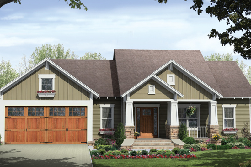 Front Elevation Ranch : Ranch style house plan beds baths sq ft