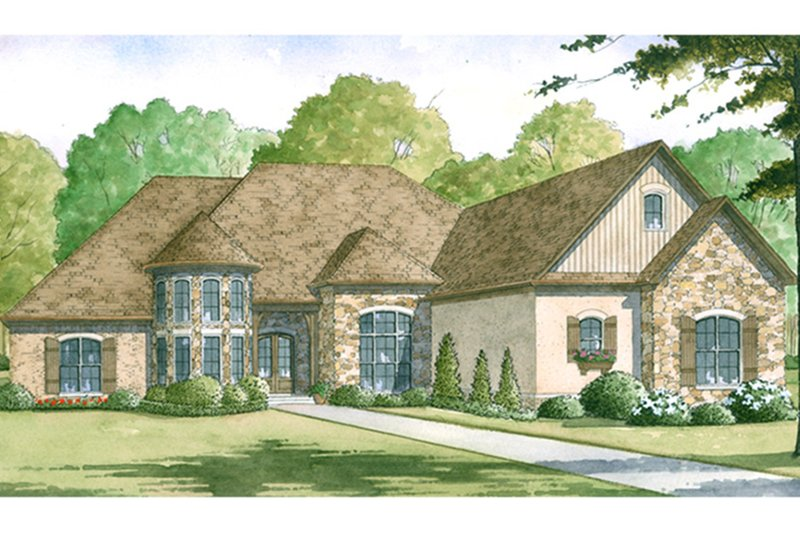European Exterior - Front Elevation Plan #17-3373