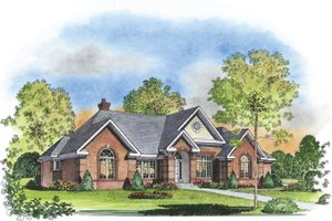 Colonial Exterior - Front Elevation Plan #1016-30