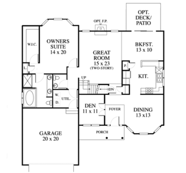 Country Floor Plan - Main Floor Plan Plan #1053-70