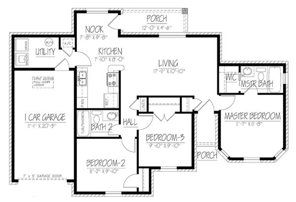Ranch Floor Plan - Main Floor Plan Plan #1061-32