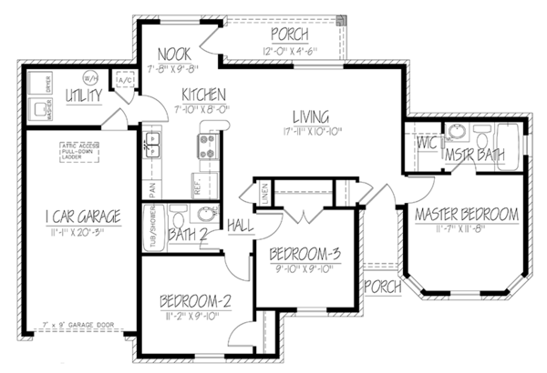 Ranch Floor Plan - Main Floor Plan Plan #1061-32