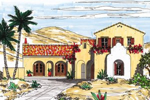 Dream House Plan - Mediterranean Exterior - Front Elevation Plan #76-122