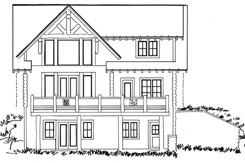 Log Exterior - Rear Elevation Plan #942-23 - Houseplans.com