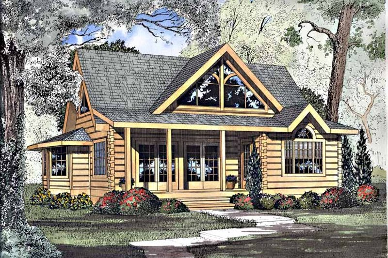Log Exterior - Front Elevation Plan #17-3133