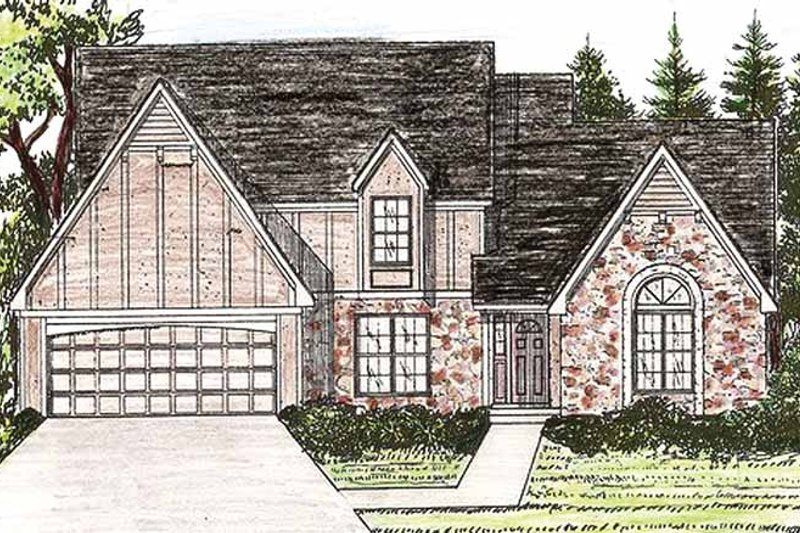 Tudor Exterior - Front Elevation Plan #405-283