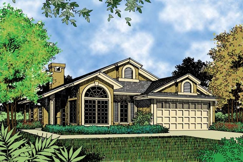 Mediterranean Exterior - Front Elevation Plan #417-461