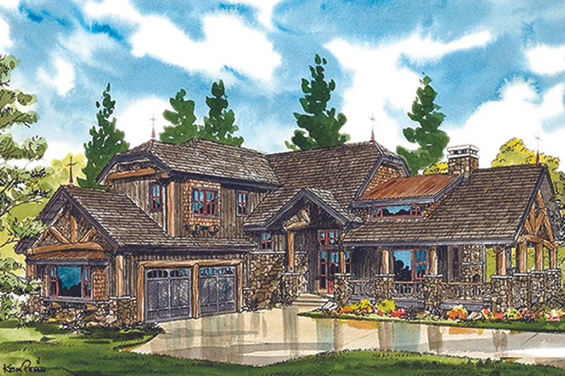 Cabin Exterior - Front Elevation Plan #942-36