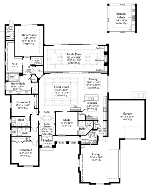 Mediterranean Style House Plan - 3 Beds 4.5 Baths 3371 Sq/Ft Plan #930-456 Floor Plan - Main Floor Plan