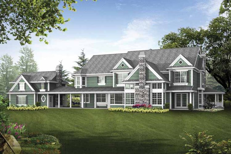 Country Exterior - Rear Elevation Plan #132-521 - Houseplans.com