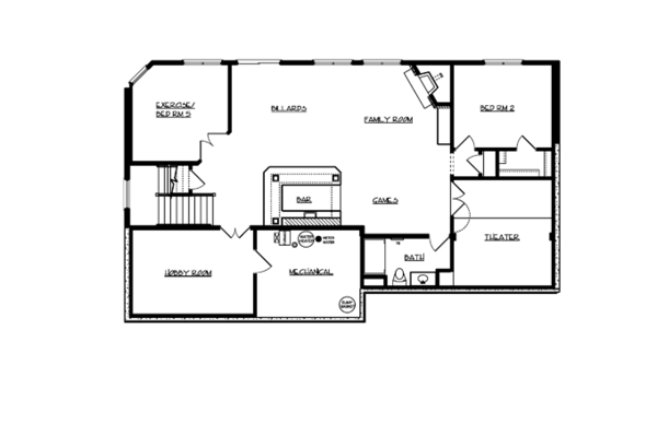 Traditional Floor Plan - Lower Floor Plan Plan #320-990