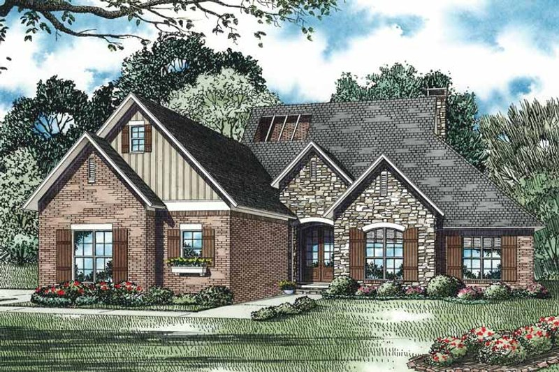 European Exterior - Front Elevation Plan #17-3330 - Houseplans.com
