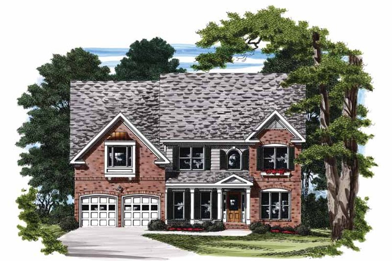 Colonial Exterior - Front Elevation Plan #927-677
