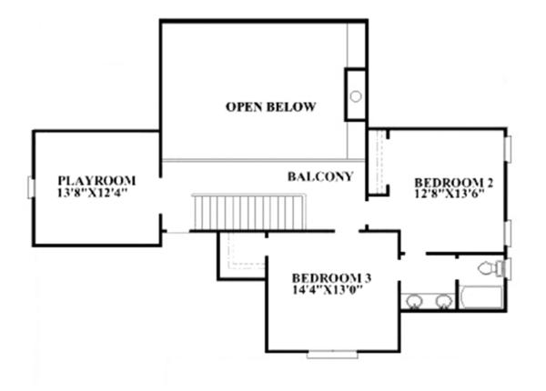 Traditional Floor Plan - Upper Floor Plan Plan #991-30