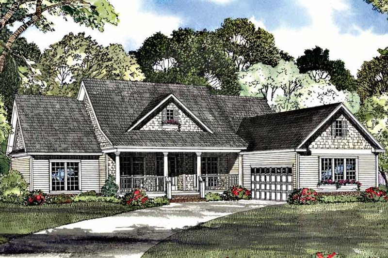 Country Exterior - Front Elevation Plan #17-3090 - Houseplans.com