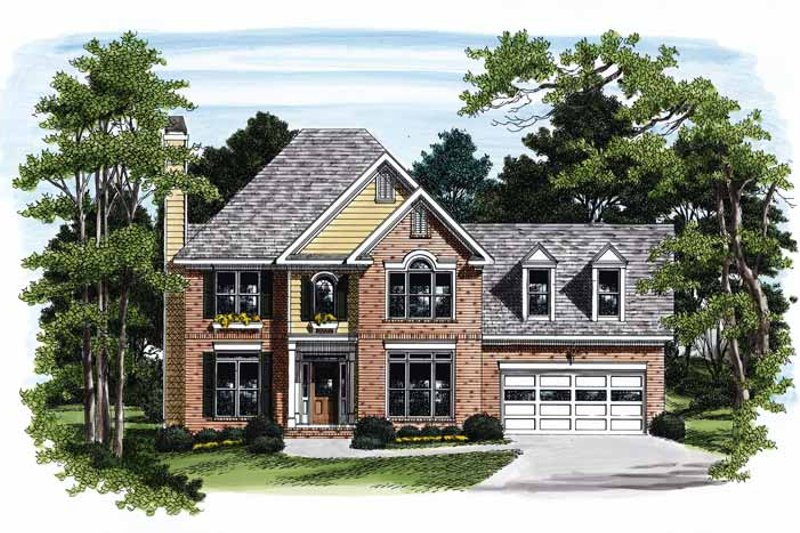 Colonial Exterior - Front Elevation Plan #927-384