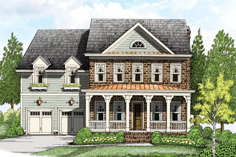 Architectural House Design - Colonial Exterior - Front Elevation Plan #927-956