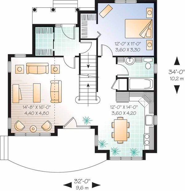 European Floor Plan - Main Floor Plan Plan #23-2459