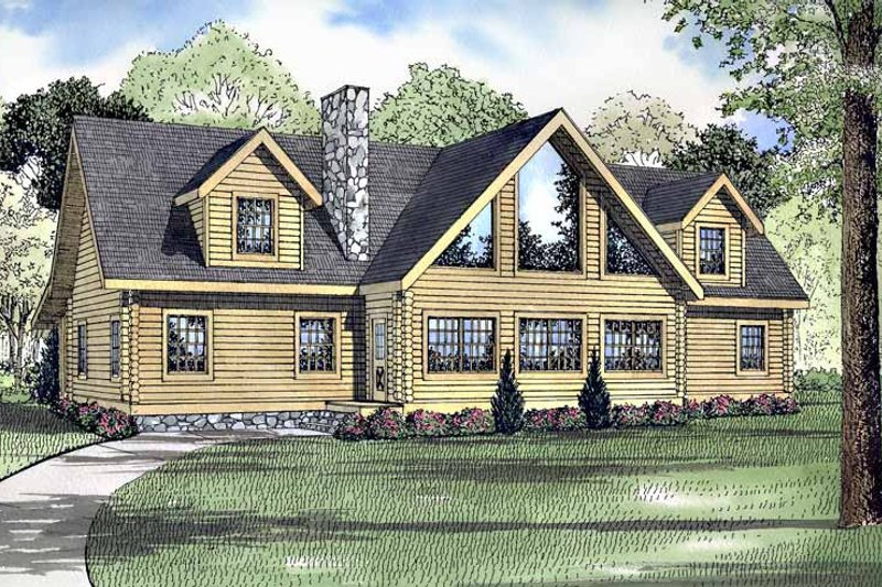 Log Exterior - Front Elevation Plan #17-3148