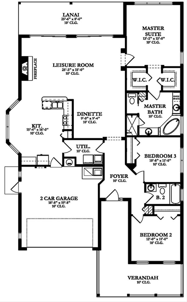 Ranch Floor Plan - Main Floor Plan Plan #1058-109