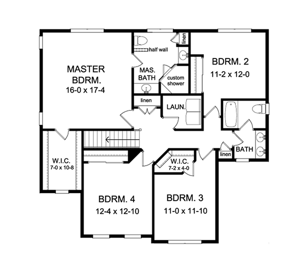 Colonial Floor Plan - Upper Floor Plan Plan #1010-130