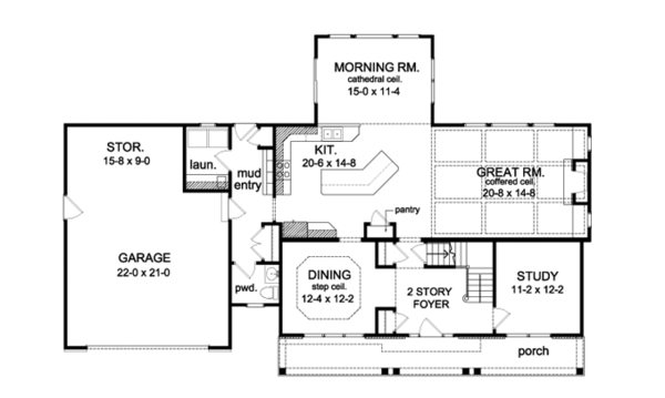 Traditional Floor Plan - Main Floor Plan Plan #1010-94