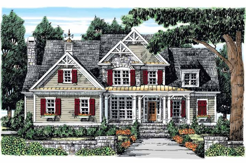 Country Exterior - Front Elevation Plan #927-854
