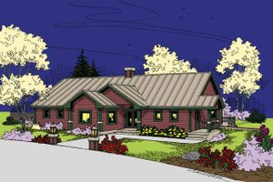 Ranch Exterior - Front Elevation Plan #60-1028