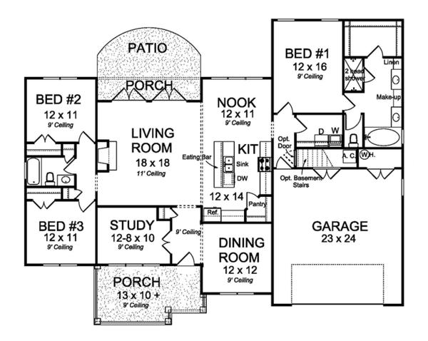 Ranch Floor Plan - Main Floor Plan Plan #513-2160