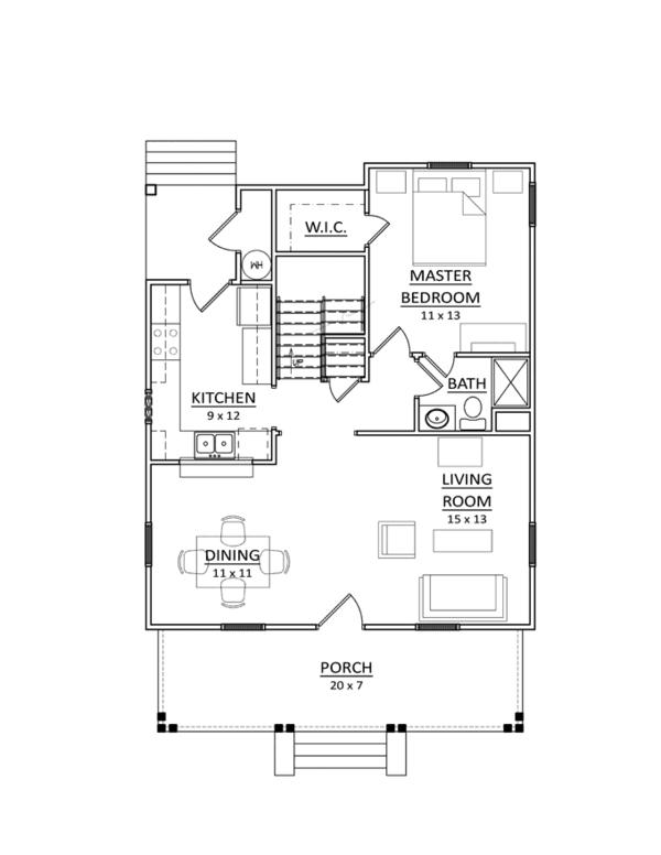 Craftsman Floor Plan - Main Floor Plan Plan #936-6